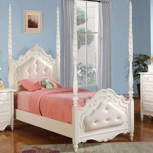 Item # A0007T - Finish: Pearl White w/ Gold Brush Accent<br><br>Available in Full Size<br><br>Available W/O Upholstered Headboard & Footboard<br><br>Dimensions: 82