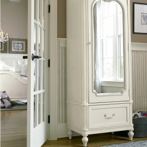 Item # 005AM Armoire - Mirror on front<br><br>Cork board and felt-lined storage box on back of door<br><br>Four drawers behind door<br><br>Adjustable shelves <br><br>Easy cord access<br><br>