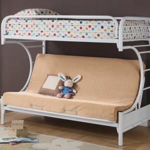 Item # 011MLB Twin Over Full Futon Bunk Bed - Finish: Glossy White<br><br>Available in Black Finish<br><br>Dimensions: 41.75W x 78.5D x 64.5H