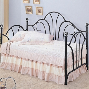 Item # 007MDB Twin Metal High Back Daybed - Twin metal daybed with a high fan shaped back filigree accent knobs<br><br>Link spring required<br><br> <br><br>
