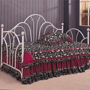 Item # 008MDB Traditional Twin Daybed - Twin metal daybed with a high fan shaped back with filigree accent knobs<br><br>Link spring required<br><br>