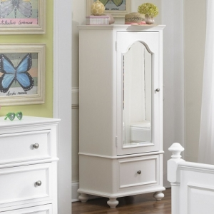 Item # 007AM Wardrobe - Offers a full length mirror, a storage drawer, and a sliding side garment hook.<br><br>Inside you'll find 2 adjustable shelves, 1 fixed shelf, a vertical divider and a jewelry drawer<br><br>