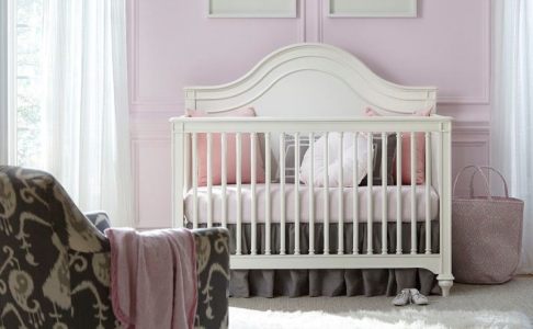 0122 French White Arch Panel Crib - Assembled Dimensions: 58