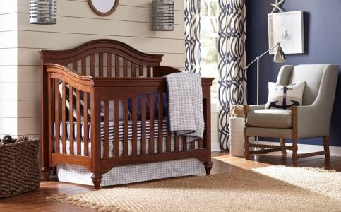 0116 Classic Saddle Brown Arch Top Crib - Assembled Dimensions: 60