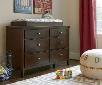 0517 Modern Six Drawer Dresser - Assembled Dimensions: 56