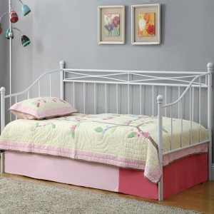 Item # 009MDB Casual Daybed with White Metal Frame - Twin metal daybed constructed from strong two inch metal tubing<br><br>Link spring required<br><br> <br><br>