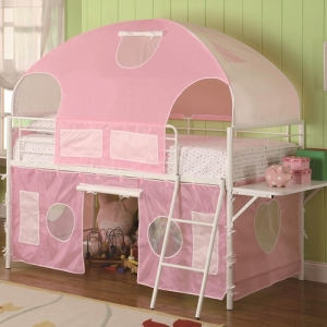 Item # 009TB Sweartheart White & Pink Tent Bunk Bed - Finish: Glossy White<br><br>Upholstery: Pink Fabric<br><br>Dimensions: 99.75W x 115.5D x 49.75H