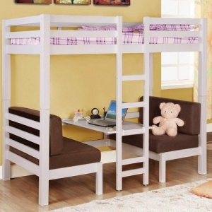 Item # 035TT Twin Over Twin Convertible Loft Bed - Top twin bunk bed sits atop a convertible futon bed and seat.<br><Br>Sturdy straight rails and a central ladder<br><br>