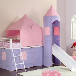 Item # 006TB Princess Castle Twin Loft Bed - Finish: Glossy White<br><br>Tent castle colors: Pink and Soft Purple<br><br>DImensions: 101W x 79.75D x 93.25H