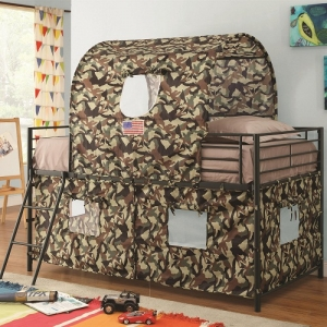 Item # 010TB Camouflage Tent Loft Bed - Finish:Army Green<br><br>Upholstery: Camouflage<br><br>Dimensions: 41.5W x 77.5D x 72.5H