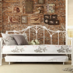 Item # 010MDB Metal DayBed W/ Trundle - Finished in white and draws design inspiration from the look of a delicate garden trellis<br><br>