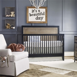 Item # 021CRB Convertible Crib - Backpack finish in the headboard, with a Chalkboard perimeter post, top rail and bottom rail<br><Br>Removable feet for two overall crib height options<br><Br>Three mattress heights<br<br>Fully finished mattress platform<br><Br>