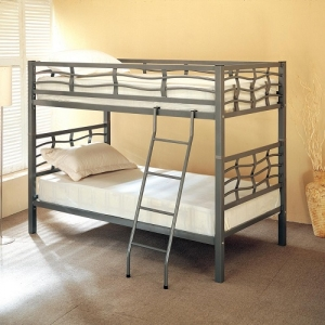 Item # A0011MBB - Finish: Light Gunmetal<br>Twin over Twin Bunk Bed<br>Dimensions: 42W x 78.5D x 60H