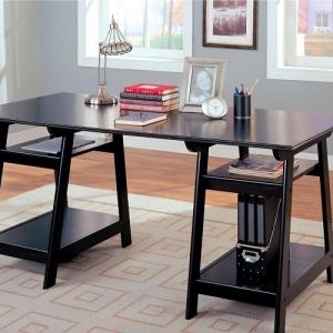 Item # 090D Double Pedestal Desk w/ Open Shelves