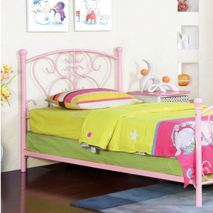 Item # A0012MB - Twin Metal Bed<br>Finish: Pink<br>Available in White><br>Dimensions: 79 1/4L X 42 3/8W X 43 7/8H
