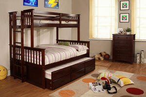 0034TR Twin Trundle with 3 Drawers - Extra Safety Insert & Lock Joint Structure<br><br>