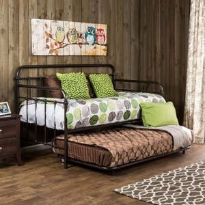 Item # 012MDB Metal Daybed - Contemporary Style<Br><br>Spindle Guardrails<Br><br>Full Metal Construction<Br><br>Powder Coated Platform Daybed<br><br><b>Optional Trundle Available</b><br><br>