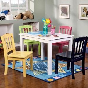 Item # 002KTCH Kids Table Set - Transitional Style<Br><br>Youth Table Set<br><Br>Slatted Back Design<br><br>