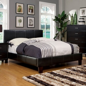 Item # 013Q Padded Leatherette Platform Queen Bed