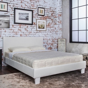 Item # 014Q Padded Leatherette Platform Queen Bed
