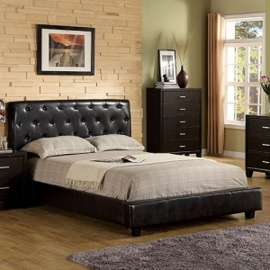 Item # 017Q Queen Bed - Contemporary Style<br><br> Padded Leatherette Platform Bed <br><Br>Button Tufted Headboard