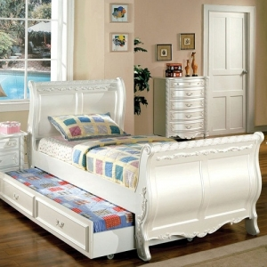 Item # A0011T - Finish: Pearl White with Gold Accents<br>Dimensions: 92 1/2L x 40 3/4W x 48 1/4H