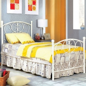 Item # A0008MB - Twin Metal Bed<br>Finish: White<br>Dimensions: 79 1/4L X 42 3/8W X 43 7/8H
