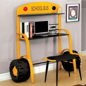 Item # A0084D - School Bus Design<br><Br>Decorative Accent Wheels<br><br>Metal Construction<br><br>USB Power Outlet<br><br>