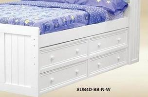 1801W Four Drawer Under Bed Storage in White - *Bed Sold Separately*