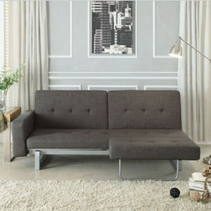 Item # 005FN Futon - Finish: Dark Grey<b><br>Dimensions:<br><br>Sofa: 80.75 x 35.5 x 31.5H<br><br>Bed: 70 x 62.25 x 13.5H