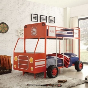 Item # 012TB Fire Engine Theme Bed - This metal framed bunk bed features a bright red finish with accents including tires, ladders and decals that lend a realistic flair to the firetruck theme. End of bed storage on the bottom bunk<br><br>