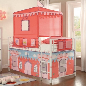 Item # 014TB Castle Loft Bed - The Metal Loft Bed is finished in a bright white that contrasts beautifully with the castle-themed tent and base wrap. Hook and look closures allow for easy access to the under-loft play area<br><br>