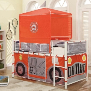 Item # 013TB Firetruck Loft Bed - The Metal Loft Bed is finished in a bright white that boldly contrasts with the firetruck-themed tent and base wrap.<br><Br>Hook and loop closures allow for easy access to the under-loft play area<br><br>