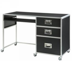 Item # 106D Computer Desk - Finish: Black/Silver<br><br>Dimensions: 47