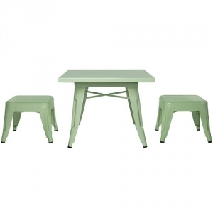 Item # 007KTCH Mint Tables and Chair Set - Easy to wipe down post-play<br><br>Backless stools support good play posture<br><Br>Stool stack for easy storage<br><br><b>Best for 2.5 - 6 year olds</b><br><Br>Flared legs for anti-tip safety<br><br>Lead and phthalate safe with non-toxic