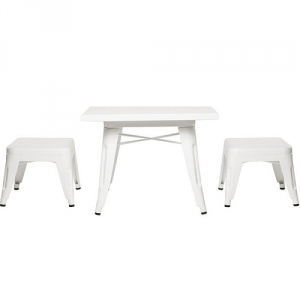 Item # 008KTCH White Table and Chair Set - Easy to wipe down post-play<br><br>Backless stools support good play posture<br><br>Stool stack for easy storage<br><br><b>Best for 2.5 - 6 year olds</b><br><Br>Flared legs for anti-tip safety<br><Br>Lead and phthalate safe with non-toxic