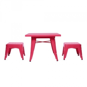Item # 003KTCH Pink Table & Chairs Set - Easy to wipe down post-play<br><Br>Backless stools support good play posture<br><Br>Stool stack for easy storage<br><br><b>Best for 2.5 - 6 year olds</b><br><br>Flared legs for anti-tip safety<br><br>Lead and phthalate safe with non-toxic