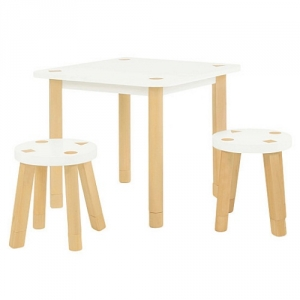 Item # 010KTCH Playset Kid Table and Stool - 1 play table and 2 backless stools<br><br>Easy to wipe down post-play<br><br>Includes extra feet to adjust height<br><br>Flared legs for anti-tip safety<br><br>Additional Kaleidoscope Playset Stools available