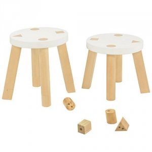 Item # 011KTCH Playset Stools - Easy to wipe down post-play<br><br>Backless stools to support good play posture<br><br>Includes extra feet to adjust height<br><br>Flared legs for anti-tip safety