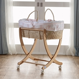 Pink Moses Basket - Available in Blue, Gray & Mint