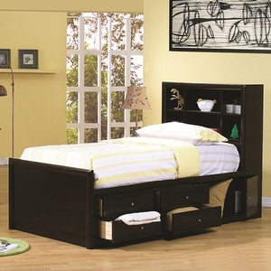 Item # A0003CPT - Finish: Cappuccino<br>Available in Full size bed<br>Dimensions: 41L x 88.5D x 50H