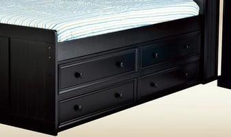 1801BLK Four Drawer Under Bed Storage in Black
