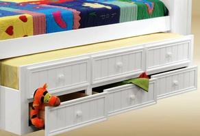 2001W Twin Size Combo Trundle with Three Drawers in White - *Bed Sold Separately*