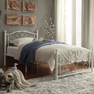 Item # A0002MB - Twin Metal Bed<br>Available in Full Size<br>Finish: White<br>Dimensions: 42 x 79 x 40H