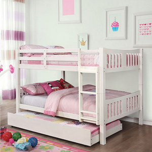 Item # A0012FF - Finish: White<br><br>Available in Gray & Dark Walnut<br><br>Available in Twin/Twin bunk bed<br><br>Dimensions: 81 3/8