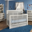 0157 Grey Upholstered Panel Crib - Assembled Dimensions: 57.25