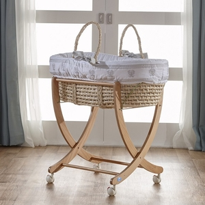 Gray Moses Basket - Available in Pink, Mint & Blue