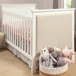 Item # 205CRB - Finish: White w/ Oatmeal Fabric<br>Assembled Dimensions: 54.875 x 30.875 x 40<br>Assembled Weight: 53 lbs